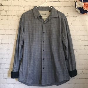 Tasso Elba Dobby plaid button down shirt